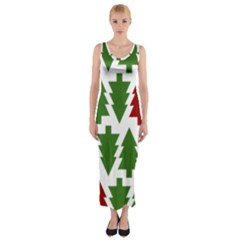 Christmas Trees Fitted Maxi Dress