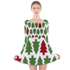Christmas Trees Long Sleeve Velvet Skater Dress