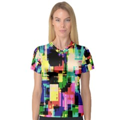 Color Abstract Background Textures Women s V-Neck Sport Mesh Tee