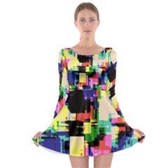 Color Abstract Background Textures Long Sleeve Skater Dress