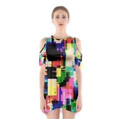 Color Abstract Background Textures Cutout Shoulder Dress