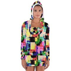 Color Abstract Background Textures Women s Long Sleeve Hooded T-shirt
