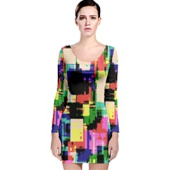 Color Abstract Background Textures Long Sleeve Velvet Bodycon Dress