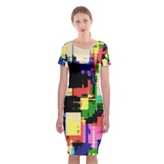 Color Abstract Background Textures Classic Short Sleeve Midi Dress