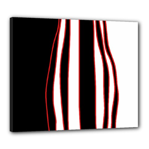 White, red and black lines Canvas 24  x 20