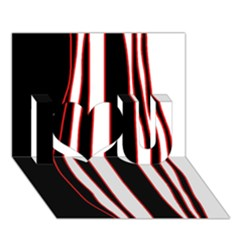 White, red and black lines I Love You 3D Greeting Card (7x5)