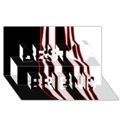 White, red and black lines Best Friends 3D Greeting Card (8x4)