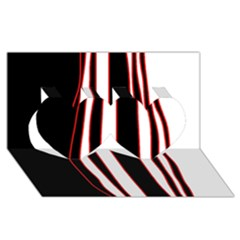 White, red and black lines Twin Hearts 3D Greeting Card (8x4)