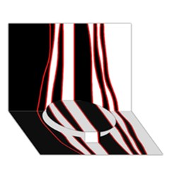 White, red and black lines Circle Bottom 3D Greeting Card (7x5)