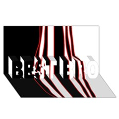 White, Red And Black Lines Best Bro 3d Greeting Card (8x4)