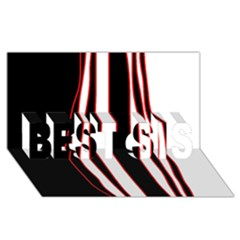 White, red and black lines BEST SIS 3D Greeting Card (8x4)
