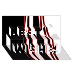 White, red and black lines Best Wish 3D Greeting Card (8x4)