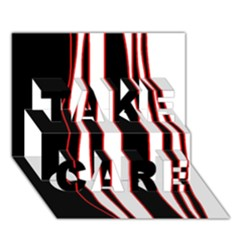 White, red and black lines TAKE CARE 3D Greeting Card (7x5)