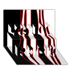 White, red and black lines You Rock 3D Greeting Card (7x5)