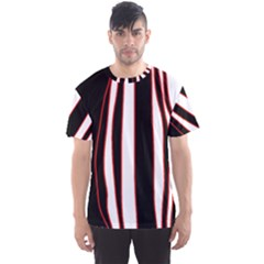 White, red and black lines Men s Sport Mesh Tee
