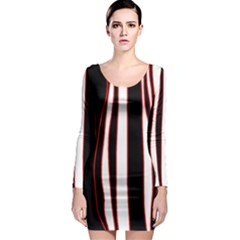 White, red and black lines Long Sleeve Bodycon Dress