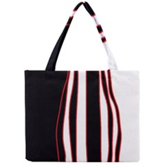 White, red and black lines Mini Tote Bag