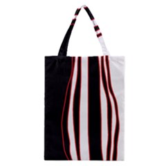 White, red and black lines Classic Tote Bag