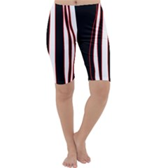 White, red and black lines Cropped Leggings
