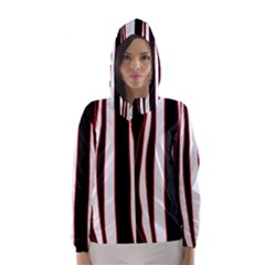 White, red and black lines Hooded Wind Breaker (Women)