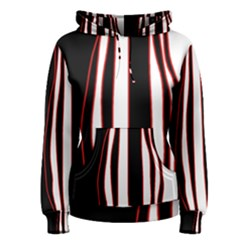 White, red and black lines Women s Pullover Hoodie