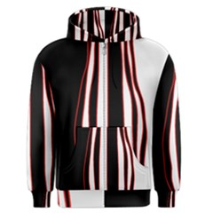White, red and black lines Men s Zipper Hoodie