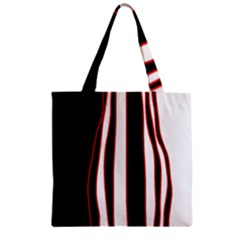 White, red and black lines Zipper Grocery Tote Bag