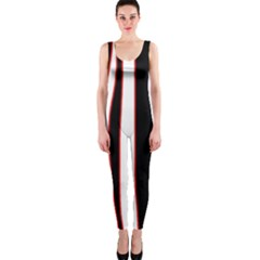 White, red and black lines OnePiece Catsuit