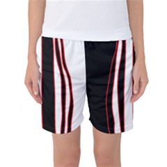 White, red and black lines Women s Basketball Shorts
