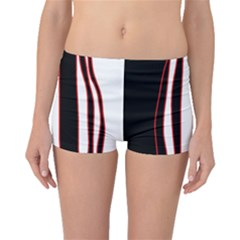 White, red and black lines Boyleg Bikini Bottoms
