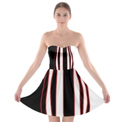 White, red and black lines Strapless Bra Top Dress