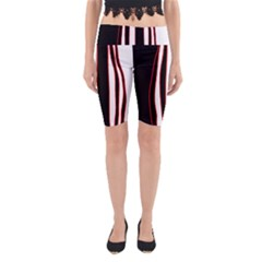 White, red and black lines Yoga Cropped Leggings