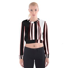 White, red and black lines Women s Cropped Sweatshirt