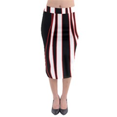 White, red and black lines Midi Pencil Skirt