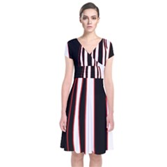 White, red and black lines Short Sleeve Front Wrap Dress