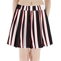 White, red and black lines Pleated Mini Skirt