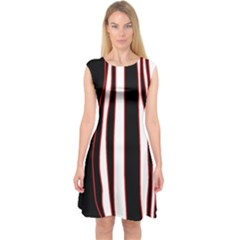 White, red and black lines Capsleeve Midi Dress