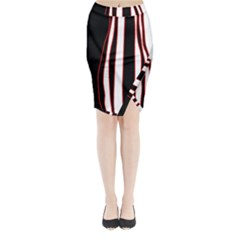 White, Red And Black Lines Midi Wrap Pencil Skirt