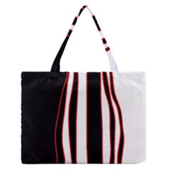White, red and black lines Medium Zipper Tote Bag