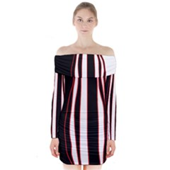 White, Red And Black Lines Long Sleeve Off Shoulder Dress