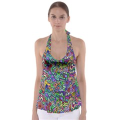 Colorful Abstract Paint Background Babydoll Tankini Top