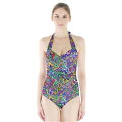 Colorful Abstract Paint Background Halter Swimsuit