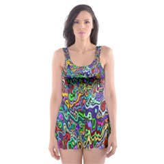 Colorful Abstract Paint Background Skater Dress Swimsuit