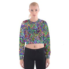 Colorful Abstract Paint Background Women s Cropped Sweatshirt