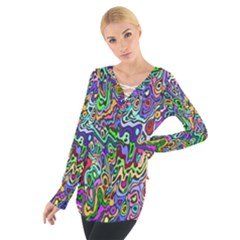 Colorful Abstract Paint Background Women s Tie Up Tee