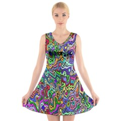 Colorful Abstract Paint Background V-Neck Sleeveless Skater Dress