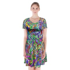 Colorful Abstract Paint Background Short Sleeve V-neck Flare Dress
