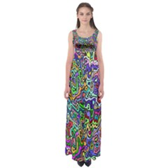 Colorful Abstract Paint Background Empire Waist Maxi Dress