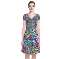 Colorful Abstract Paint Background Short Sleeve Front Wrap Dress