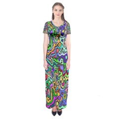 Colorful Abstract Paint Background Short Sleeve Maxi Dress